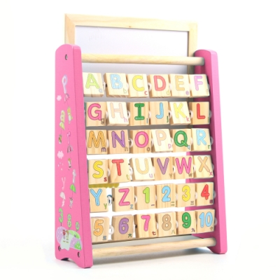 木製-3合1英文學習畫板架 - 粉紅