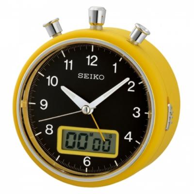 SEIKO精工 計時碼錶造型鬧鐘(QHE114Y)