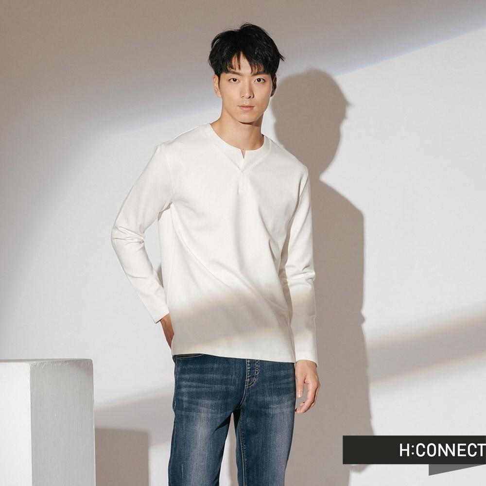H:CONNECT 韓國品牌 男裝-簡約開岔素面上衣-白