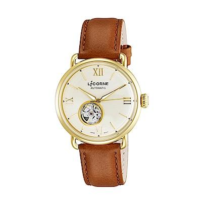 LICORNE 力抗錶 光陰系列半鏤空設計手錶 金×咖啡/42mm