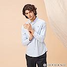 GIORDANO 男裝四季百搭刺繡彈力牛津紡襯衫-70 藍/白條紋