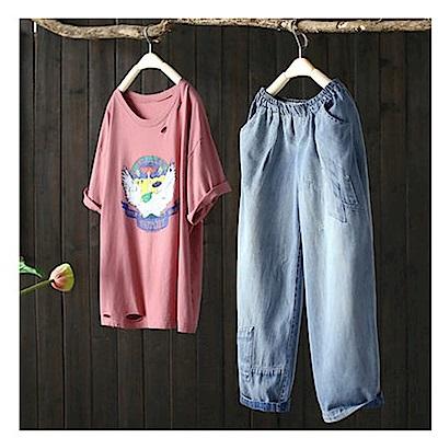 寬鬆刺繡牛仔哈倫顯瘦九分褲-設計所在