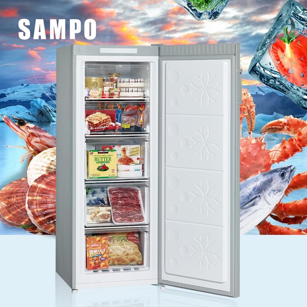 [福利品] SAMPO聲寶 170公升 直立式無霜冷凍櫃 SRF-171F 髮絲銀