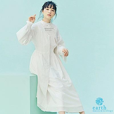 earth music 廣瀨鈴企劃款-復古優雅蕾絲拼接罩衫