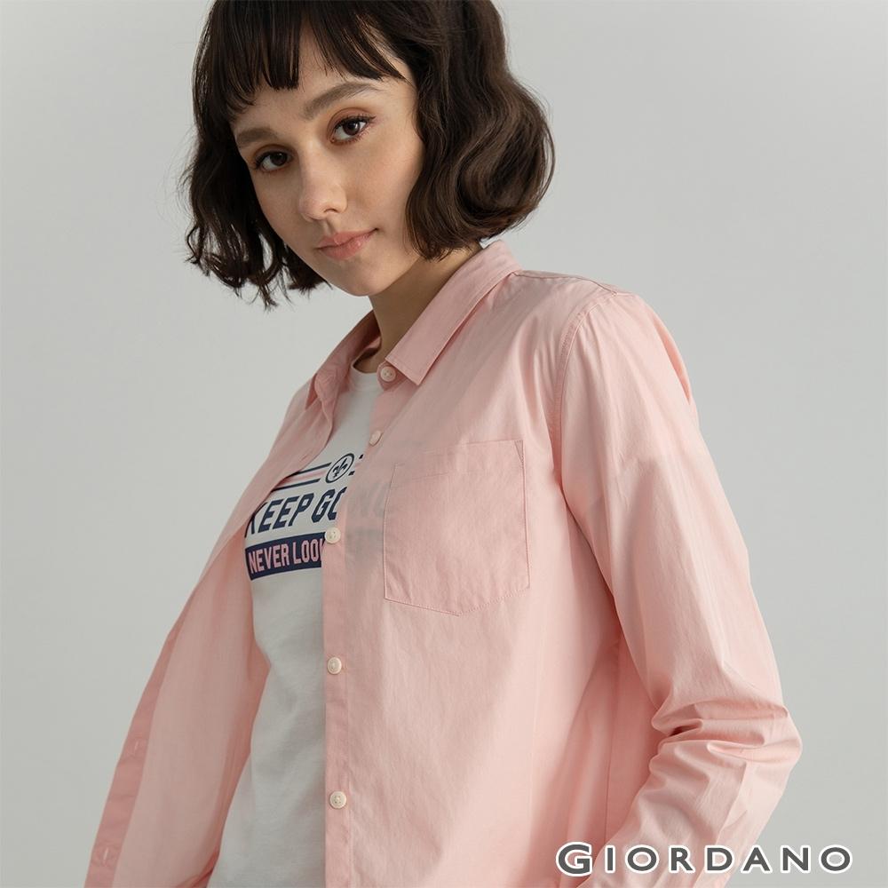 GIORDANO  女裝純棉口袋襯衫 - 23 桃粉
