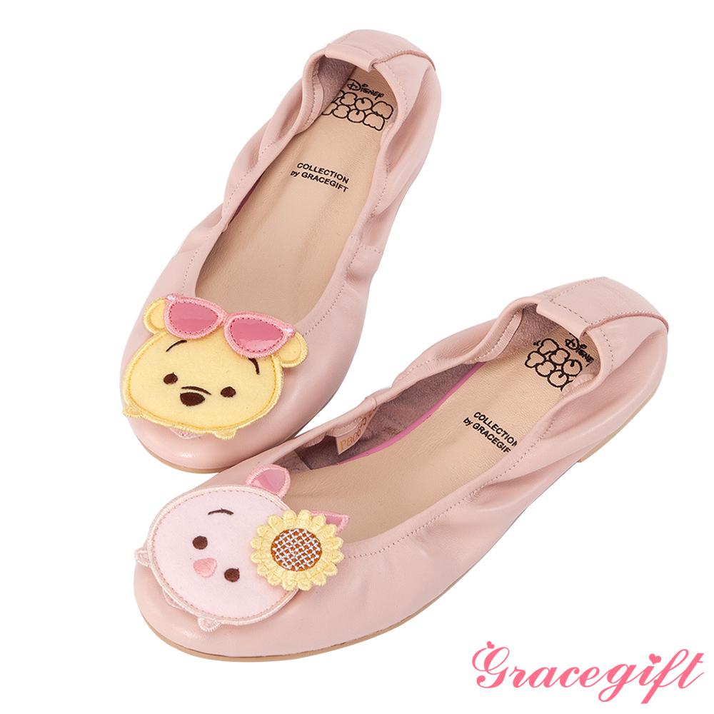 Disney collection by grace gift-全真皮摺疊娃娃鞋 粉
