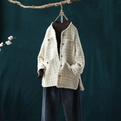 優雅毛邊開叉格子小香風外套寬鬆毛呢上衣-設計所在