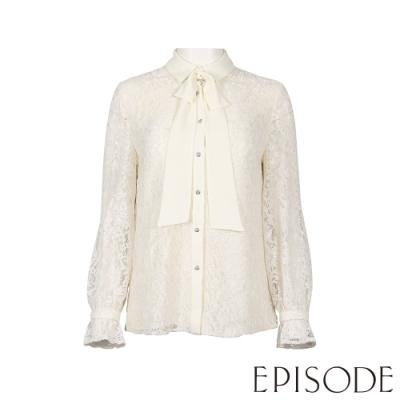 EPISODE - OL風上班族蕾絲白襯衫上衣