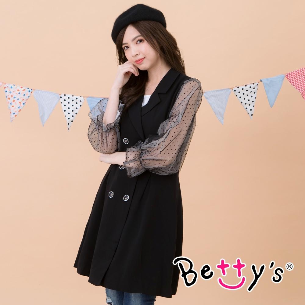 betty's貝蒂思 西裝領網紗雙排釦大衣(黑色)