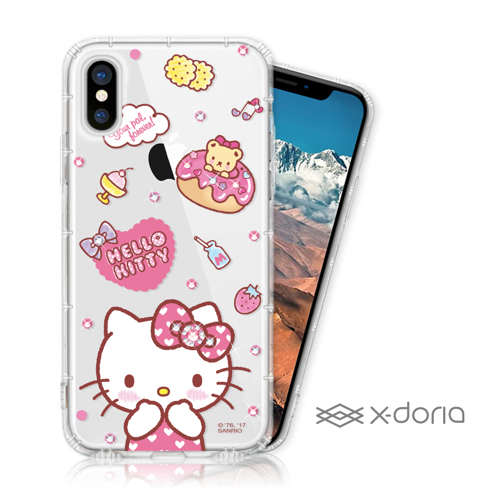 Hello Kitty iPhone X/Xs彩繪水鑽手機空壓殼 - 甜甜圈