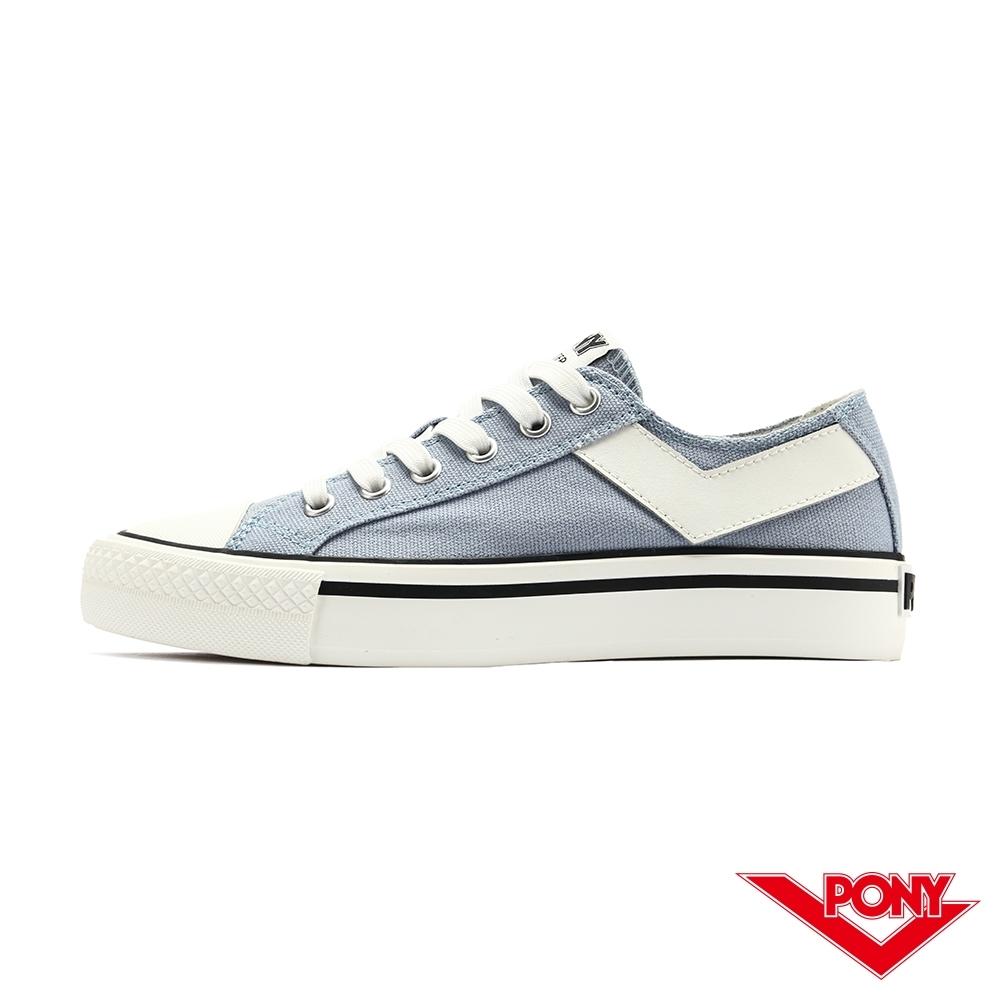 【PONY】Shooter系列經典 復古帆布鞋 休閒鞋 女鞋-灰藍