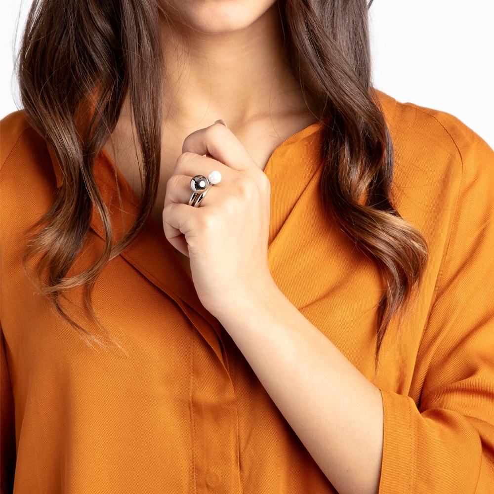 CALVIN KLEIN Bubbly 系列珍愛雙珠鋼色戒指-6