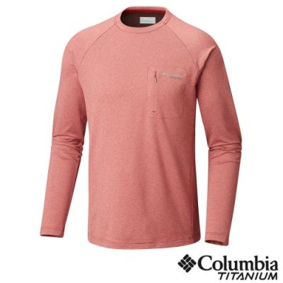 Columbia 哥倫比亞 男款- 鈦 防曬50快排長袖上衣-紅色