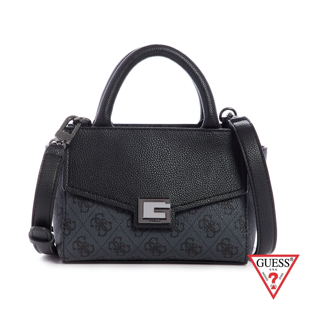 GUESS-女包-時尚拼接字母印花手提包-黑 原價2490