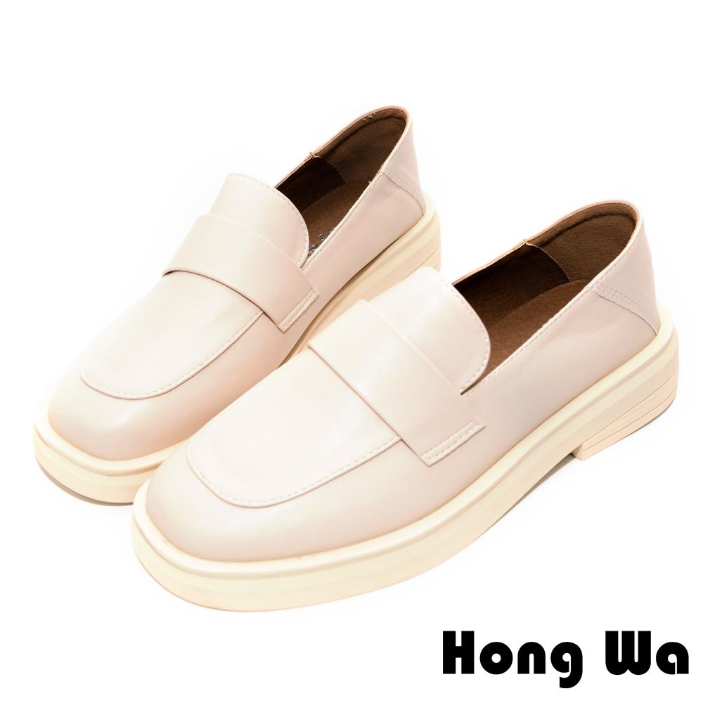 Hong Wa 素面風格‧質感牛紋皮扣帶厚底樂福鞋 - 米白