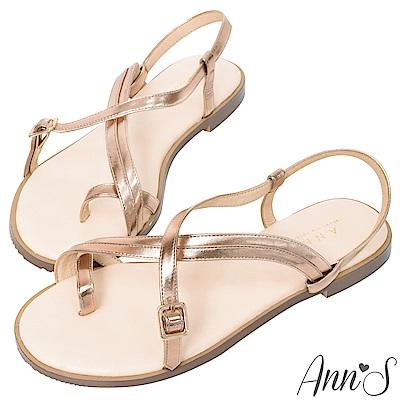 Ann'S穿穿脫脫都方便-雙層交叉套拇指寬版平底涼鞋-玫瑰金