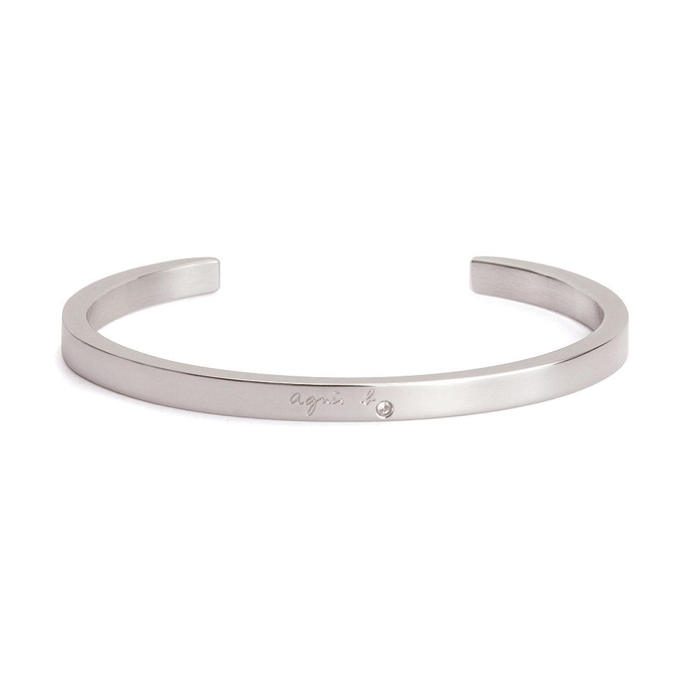 agnes b. Logo基本款女性手環(銀)(情侶對環)
