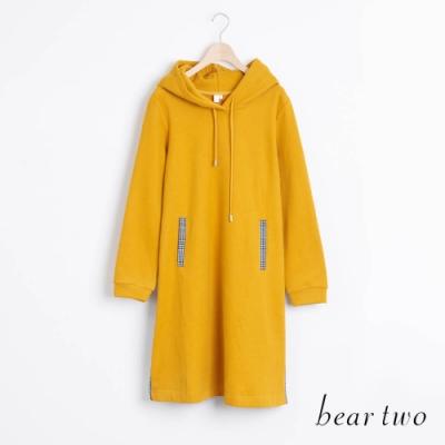 bear two- 連帽後綁結格紋洋裝 - 黃