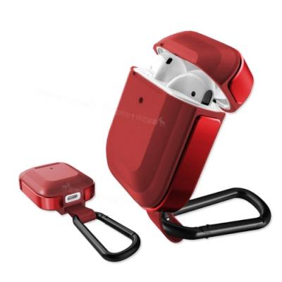刀鋒TREK Apple Airpods 鋁合金雙料 藍牙耳機盒保護套(暗夜鋼鐵紅)