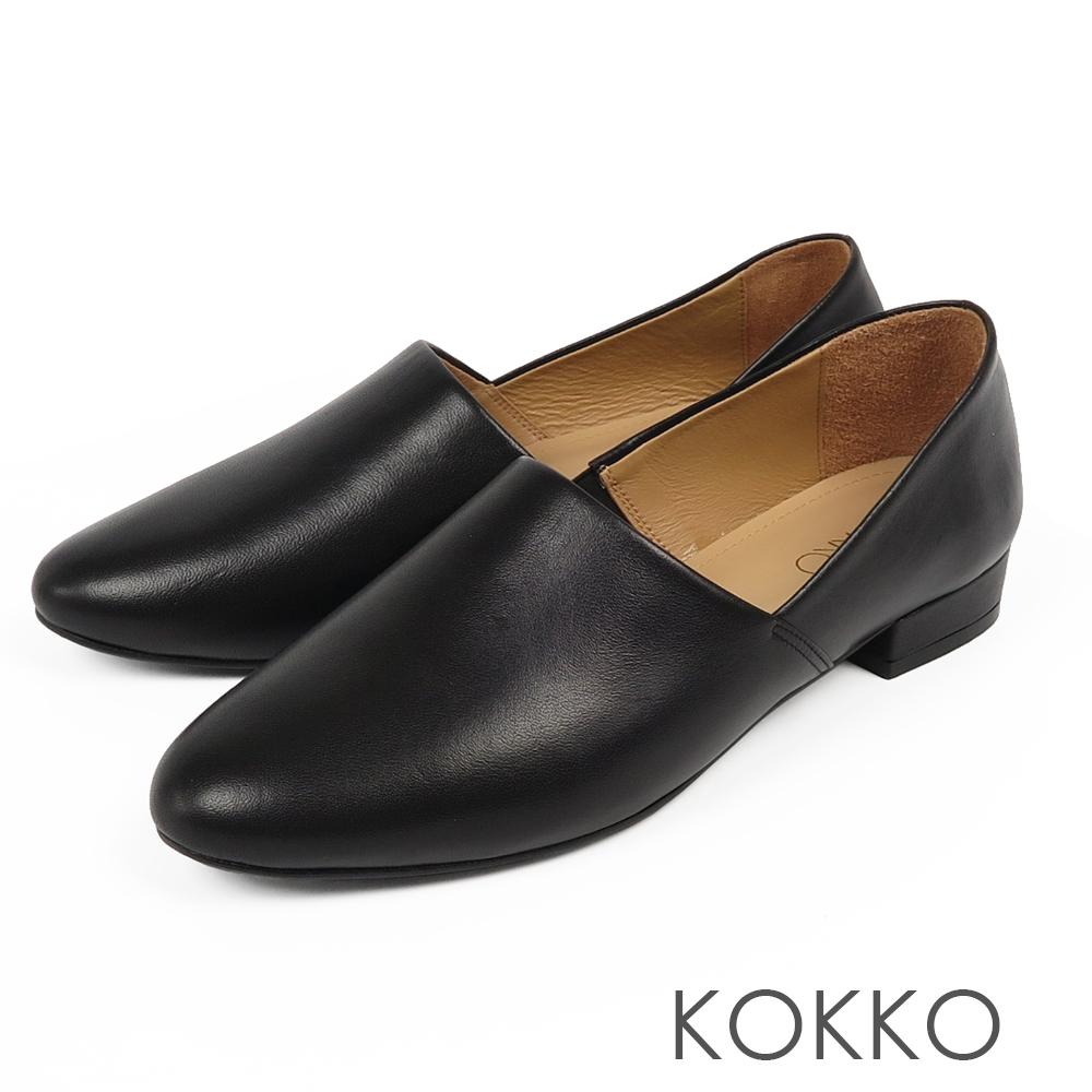 KOKKO -舒適軟底羊皮方頭平底鞋-質感黑