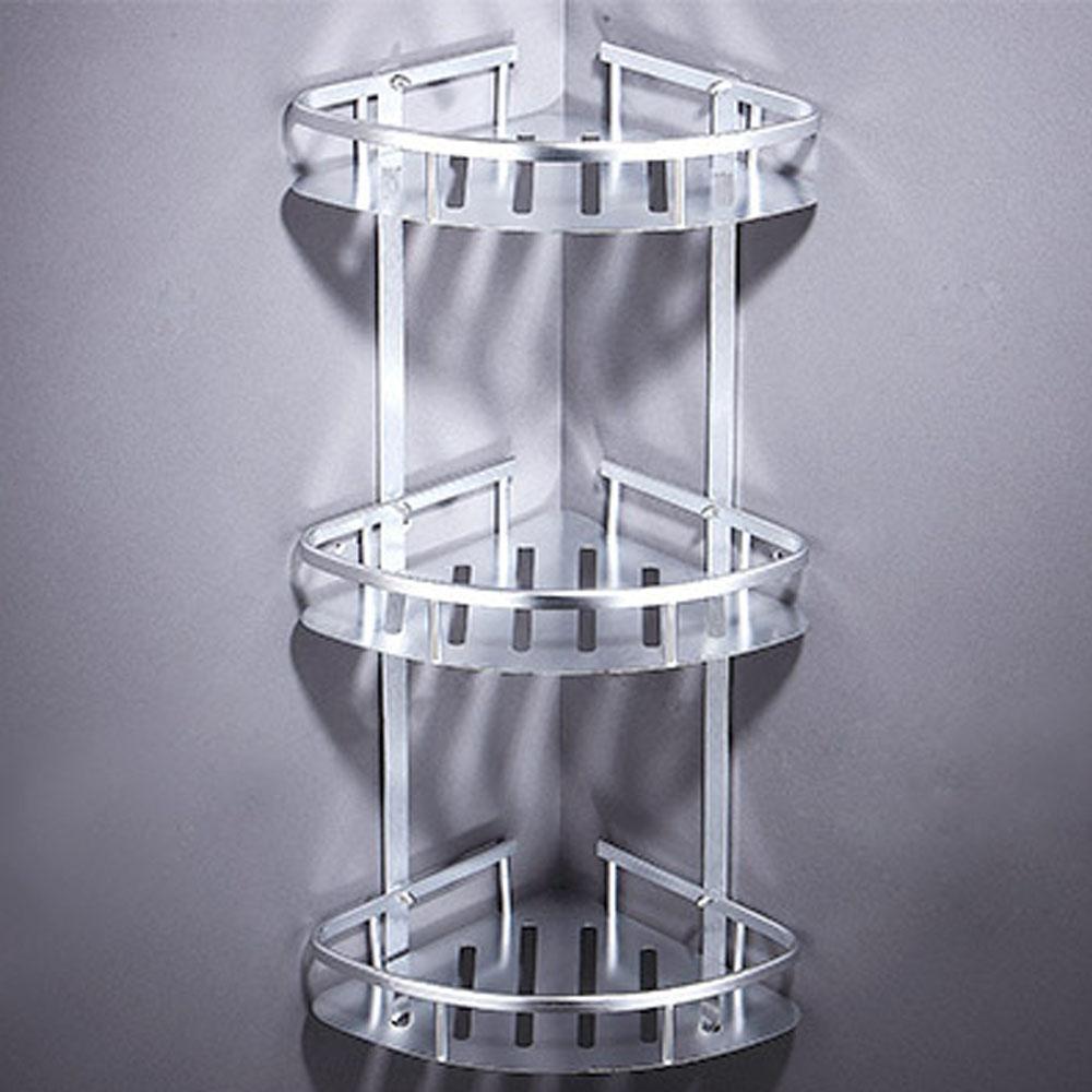 AA-33 免打孔 太空鋁扇形三層置物 無痕膠 免釘 轉角層架 廚房衛浴置物架