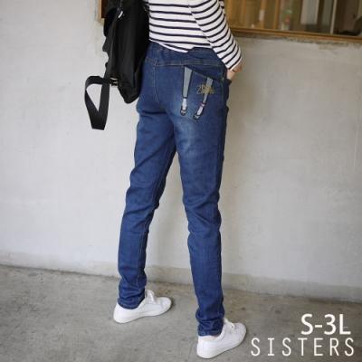電繡美腿英字口袋鬆緊腰窄管牛仔褲(S-3L) SISTERS