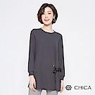 CHICA 帥氣優雅釦環蝴蝶結長版上衣(1色)