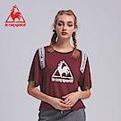le coq sportif 法國公雞牌印花織帶蝙蝠短袖T恤 女-暗紅