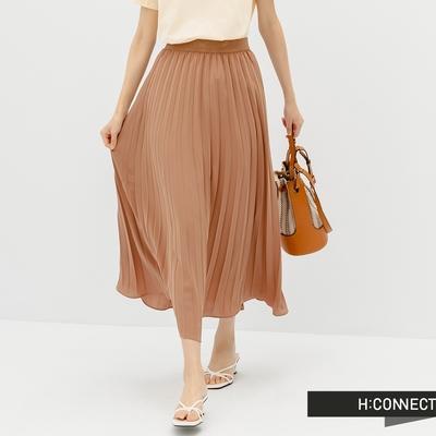 H:CONNECT 韓國品牌 女裝 -質感鬆緊百褶雪紡飄逸長裙-咖啡