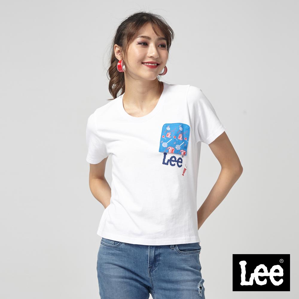Lee 口袋反轉短版T恤-寬鬆版-白