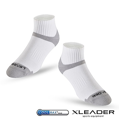 LEADER ST-06 Coolmax專業排汗除臭 機能運動襪 男款 白灰