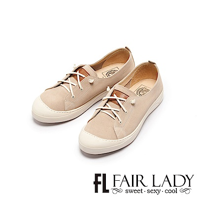 Fair Lady Soft Power軟實力 真皮彈力帶休閒鞋 燕麥
