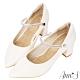 Ann'S百變公主鞋-可拆鑽石繫帶瑪莉珍粗跟尖頭鞋 -白 product thumbnail 1