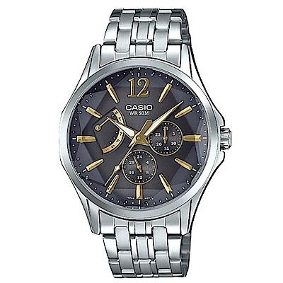 CASIO立體多面切割簡約風格不鏽鋼錶-黑面(MTP-E120DY-1A)/47.5mm