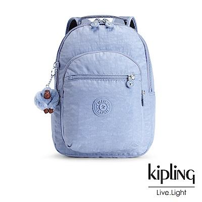 Kipling溫柔粉藍素面後背包(小)-CLAS SEOUL S
