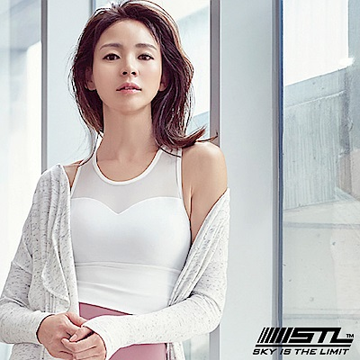 STL Crop Top Balance Slim 女運動機能短版上衣 平衡網雪白