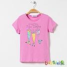 bossini女童-印花短袖T恤16粉紫