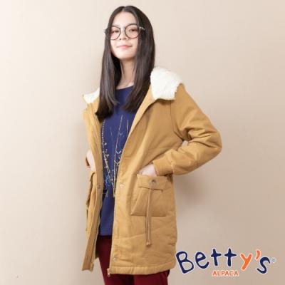 betty's貝蒂思 連帽可愛口袋鋪棉大衣(駝色)