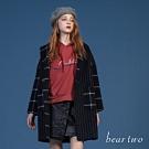 bear two- 刺繡文字帽T - 橘紅