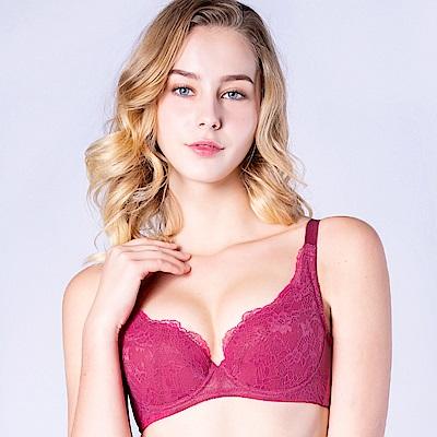 思薇爾 輕戀香系列B-F罩蕾絲包覆內衣(波斯紅)
