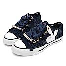 PLAYBOY 浪漫蕾絲透膚帆布鞋-藍-Y5203FF
