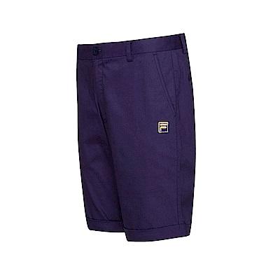 FILA 男款平織素面短褲-藍紫 1SHT-1706-NV