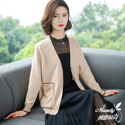 Mandy國際時尚 針織外套 秋 V領純色口袋線條長袖毛衣外套(4色)