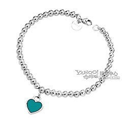 Tiffany&Co. 迷你粉藍色愛心純銀串珠手鍊