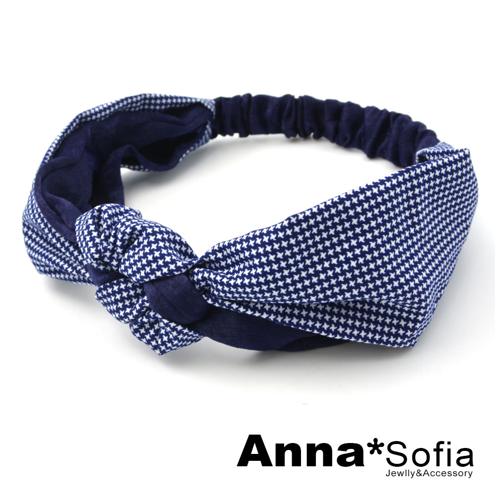 【2件7折】AnnaSofia 甜美星點雙拼繞結 彈性寬髮帶(藏藍系) @ Y!購物
