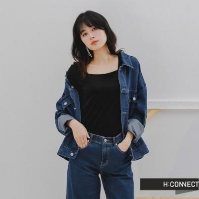 H:CONNECT 韓國品牌 女裝 -經典大口袋落肩牛仔外套-深藍色