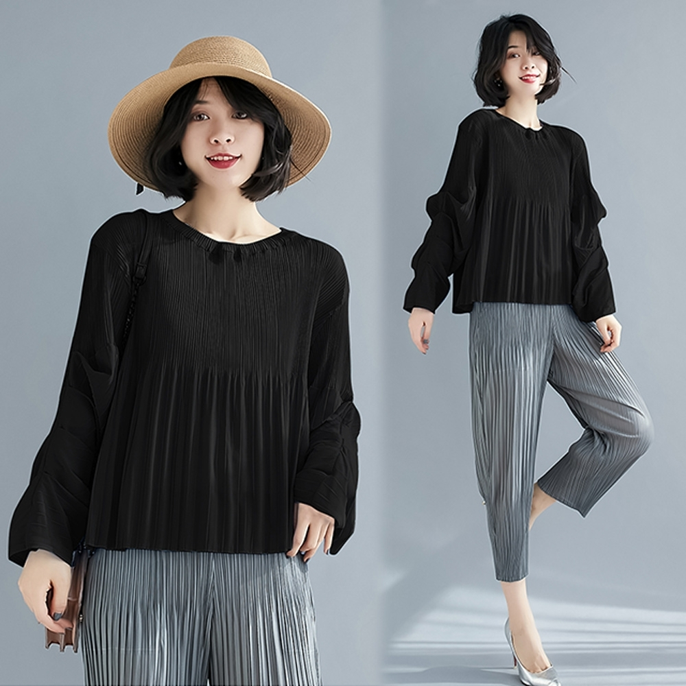 【KEITH-WILL】(預購)爆推款夏日氛圍壓褶衣(共3色) (黑色)