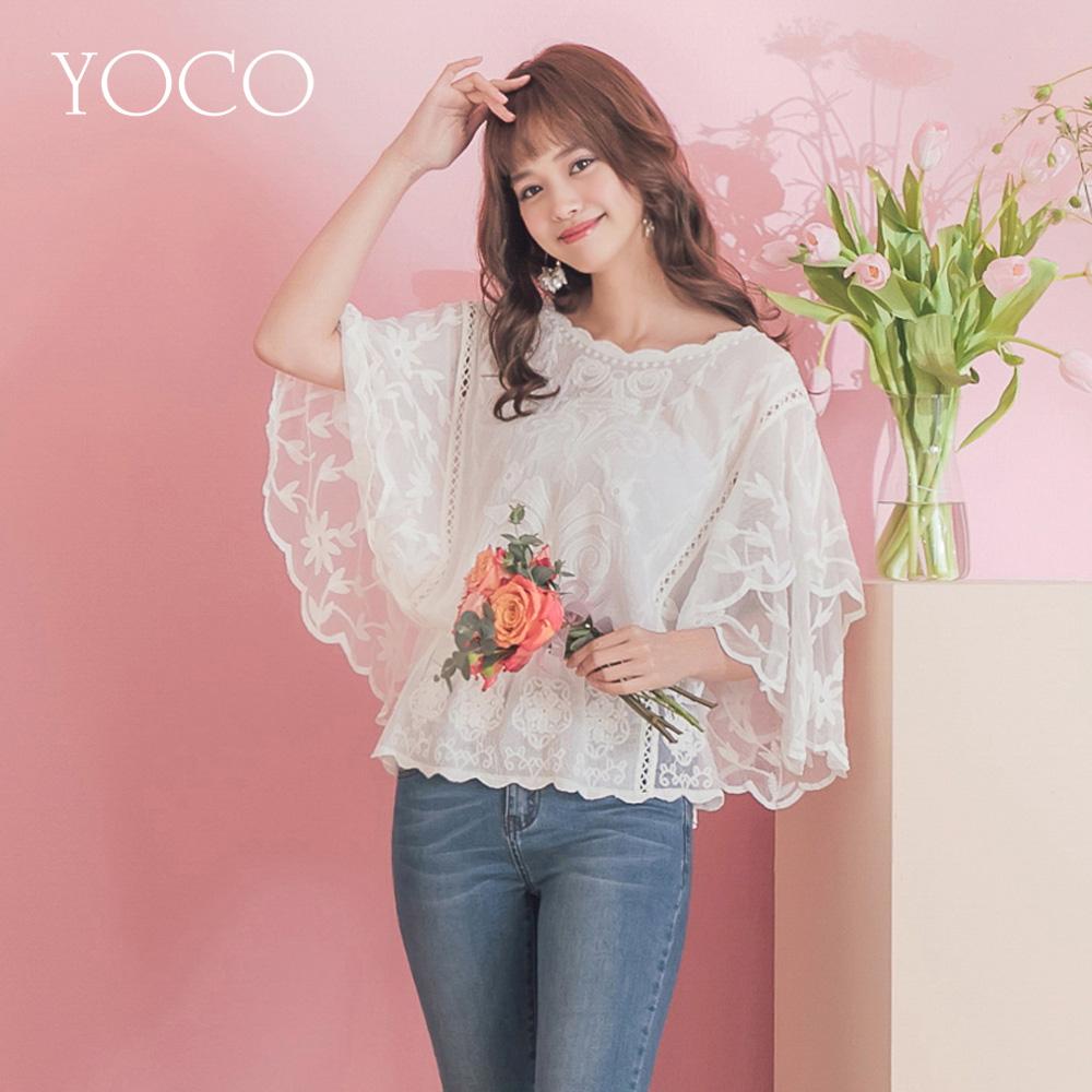 東京著衣-YOCO 仙女onni蕾絲縮腰層次波浪袖雪紡上衣