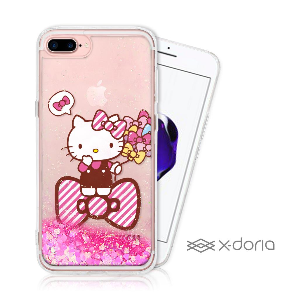 Hello Kitty iPhone 7/8 Plus 亮片流沙手機軟殼 - 蝴蝶結