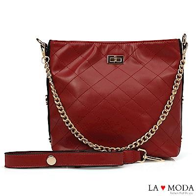 La Moda 本季最HOT小香風菱格紋肩背大容量斜背鏈帶大包(紅)